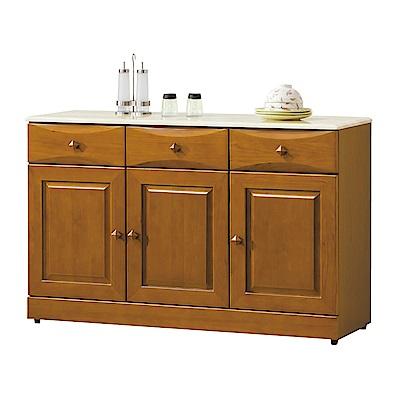 綠活居 薛曼時尚4.1尺實木雲紋石面餐櫃/收納櫃-122.7x42x79cm-免組