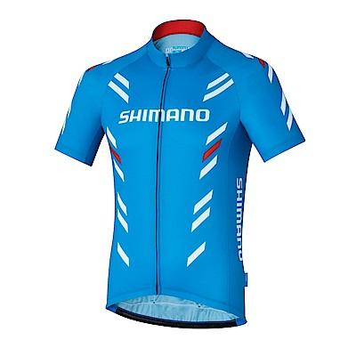 【SHIMANO】PRINT 男款短袖車衣 藍