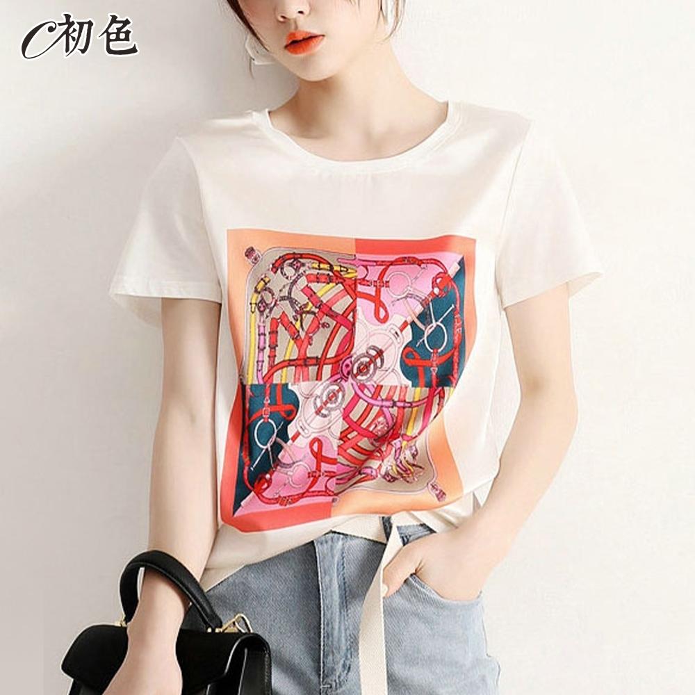 初色  文藝復古印花T恤-白色-(M-2XL可選)