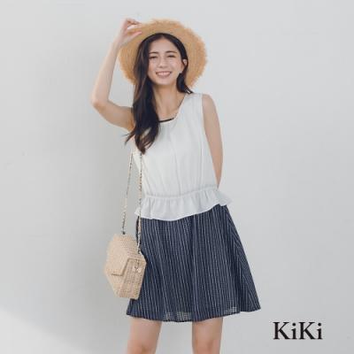 【KiKi】荷葉設計無袖-洋裝(二色)