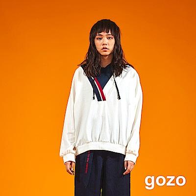 gozo V領撞色線條假二件帽T(二色)