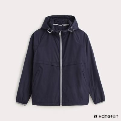 Hang Ten-女裝-ThermoContro-薄夾克收納風衣外套-藍
