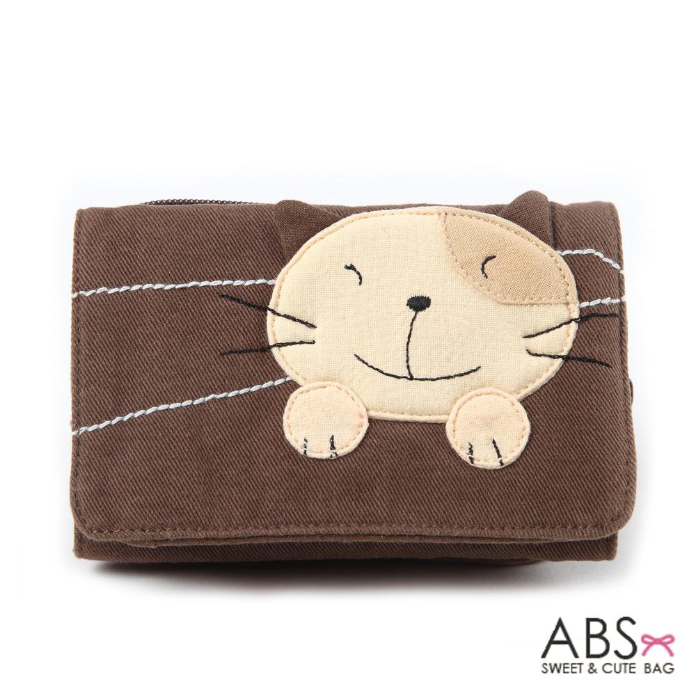 ABS貝斯貓 Simple Style複合式拼布零錢短夾(可可咖)88-031