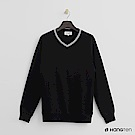 Hang Ten - 男裝 - 有機棉 - V領細針織上衣 - 黑