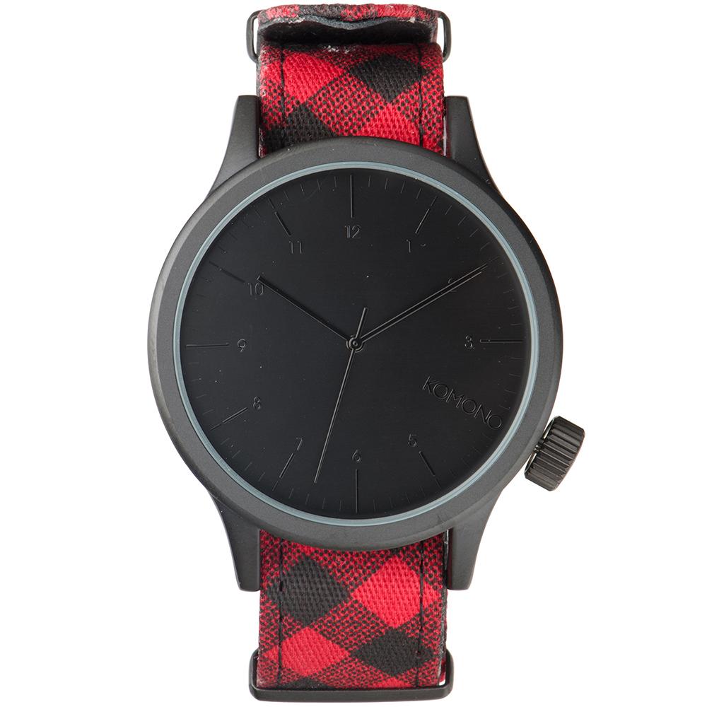 KOMONO Magnus Print 腕錶-法蘭紅格紋/46mm