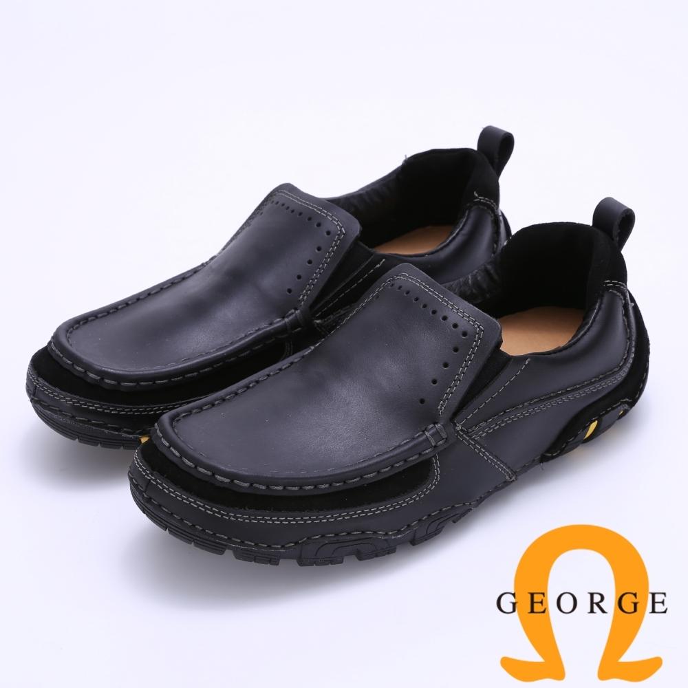Amber 寬楦頭直套式真皮休閒鞋-黑色