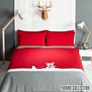 YVONNE COLLECTION 馴鹿加大三件式被套+枕套組-紅
