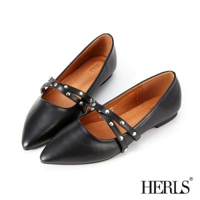 HERLS平底鞋-內真皮雙帶瑪莉珍鉚釘尖頭鞋平底鞋-黑色