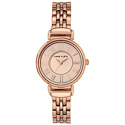 Anne Klein 永恆雋永玫瑰金鏈帶腕錶-玫瑰金x30mm AK-2158RGRG