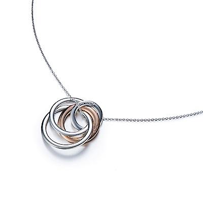 TIFFANY&Co. 無盡之愛 粉金銀雙色圓環項鍊
