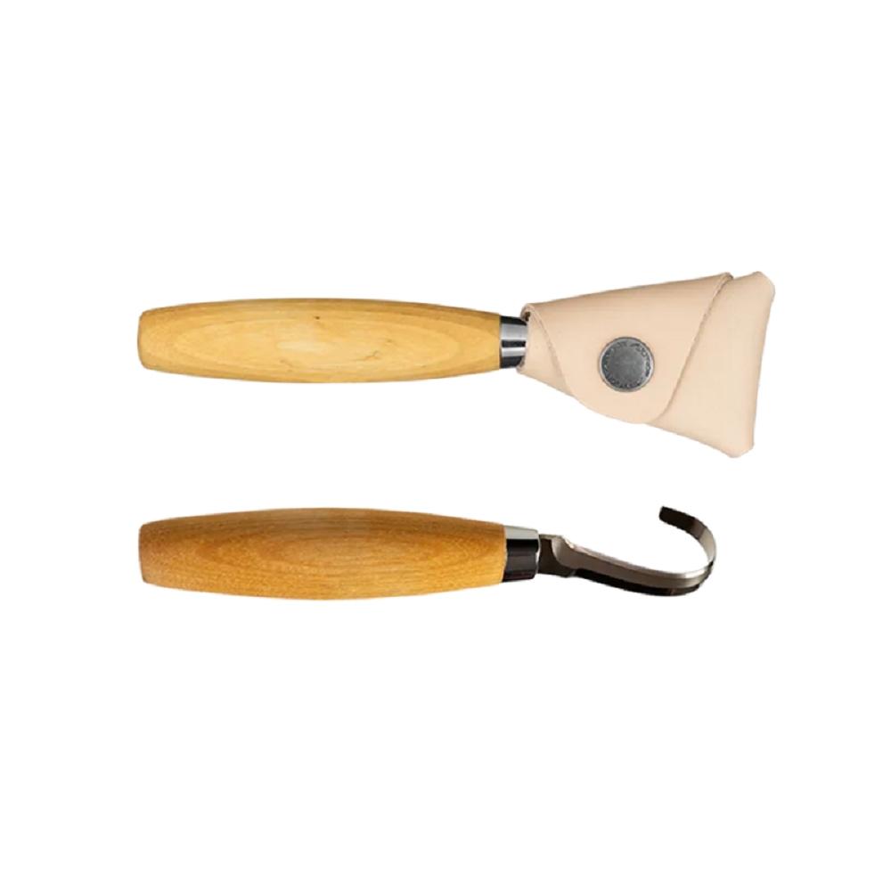 MORAKNIV Hook Knife 164 左手用不鏽鋼彎勾木雕刀 原木色13386