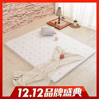 (雙12限定)LooCa 棉柔HT 5cm乳膠舒眠床墊-加大6尺