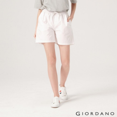 GIORDANO 女裝純棉抽繩卡其休閒短褲-01 標誌白