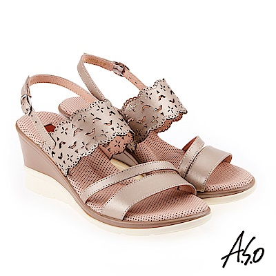A.S.O 挺麗氣墊 沖孔幾何圖騰全真皮氣墊楔型涼鞋 金