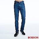 BOBSON 男款低腰涼爽紗中藍色直筒褲
