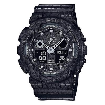 G-SHOCK  街頭潮流岩石紋理設計運動休閒錶(GA-100CG-1A)黑51mm
