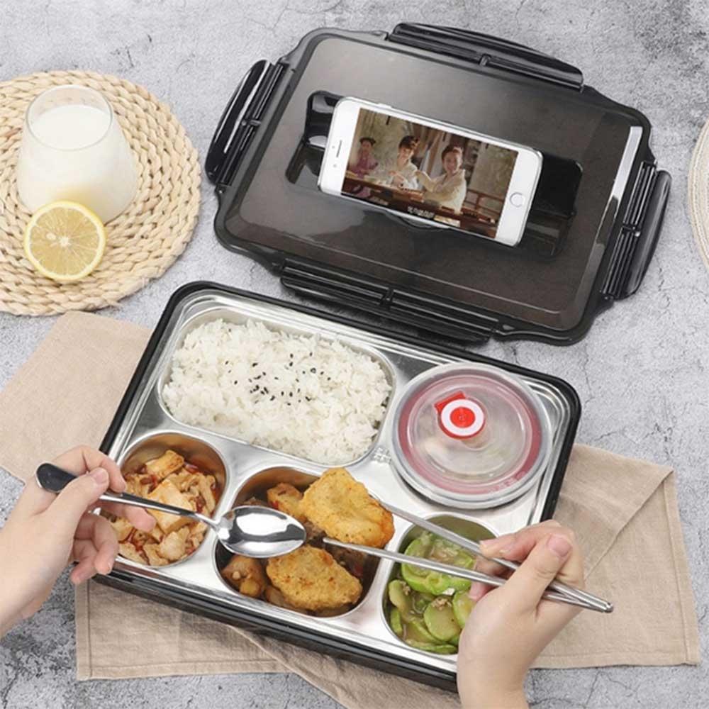 加大款 北歐304不鏽鋼導熱保溫分格便當盒(附餐具+湯碗)