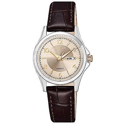 CITIZEN星辰 經典質感三針時尚女錶(EQ0599-20X)