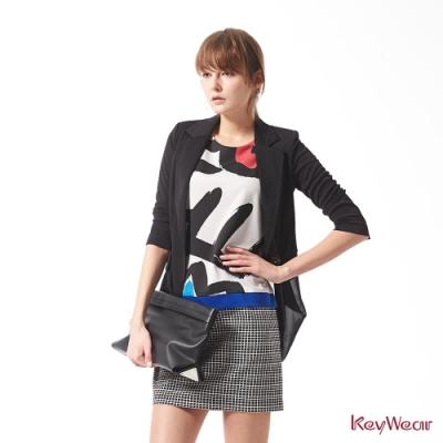 KeyWear奇威名品    素雅拼接雪紡商務七分袖外套-黑色