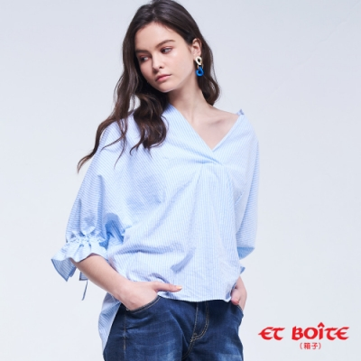 ET BOîTE 箱子 BLUE WAY –半開襟條紋襯衫