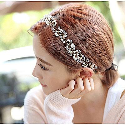 梨花HaNA 韓國女神細緻金絲珍珠緞帶髮帶