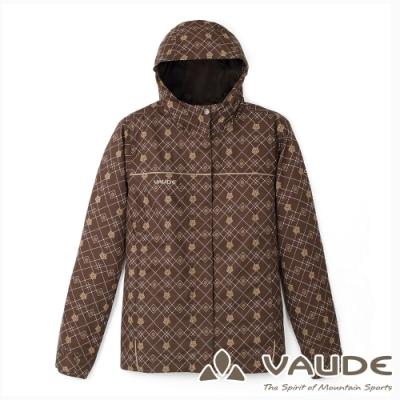 【VAUDE德國】女款花漾印花防水透氣保暖夾克外套VA-01416咖啡