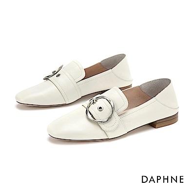 達芙妮DAPHNE 樂福鞋-真皮幾合皮扣樂福鞋-米白