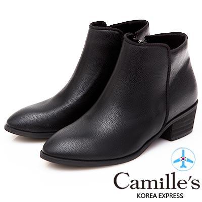 Camille's 韓國空運-簡約剪裁織帶滾邊側拉鍊短靴-黑色
