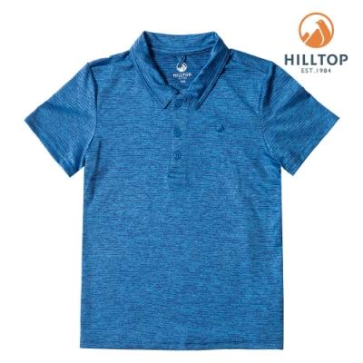 【hilltop山頂鳥】童款抗UV彈性抗菌POLO衫PS14XC02ECE0勘天藍/黑深藍