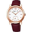 agnes b. 法式獨立小秒針時尚套錶組(BN4012X1)-白x酒紅色/33mm