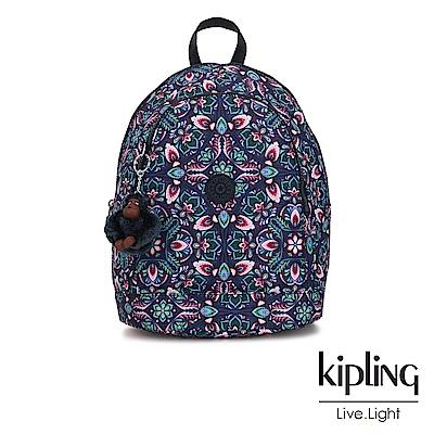 Kipling 熱帶萬花筒印花雙拉鍊後背包-YARETZI