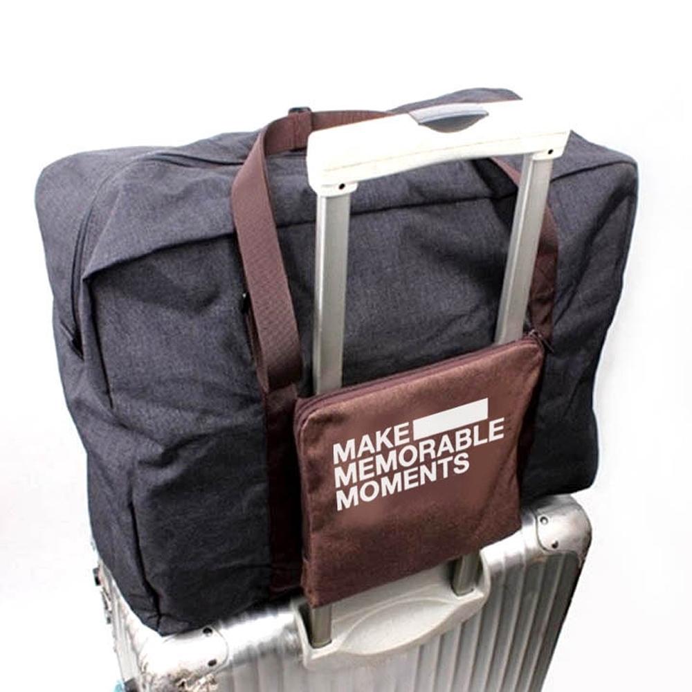 E.City_復刻版文青風旅行折疊拉桿行李袋