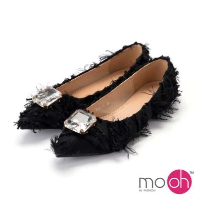 mo.oh-尖頭布面低跟平底流蘇娃娃鞋-黑色