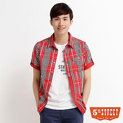 5th STREET 配色格紋襯衫-男-紅色