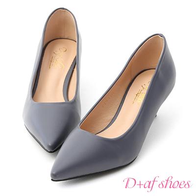 D+AF 莫蘭迪色.簡約尖頭素面中跟鞋*藍