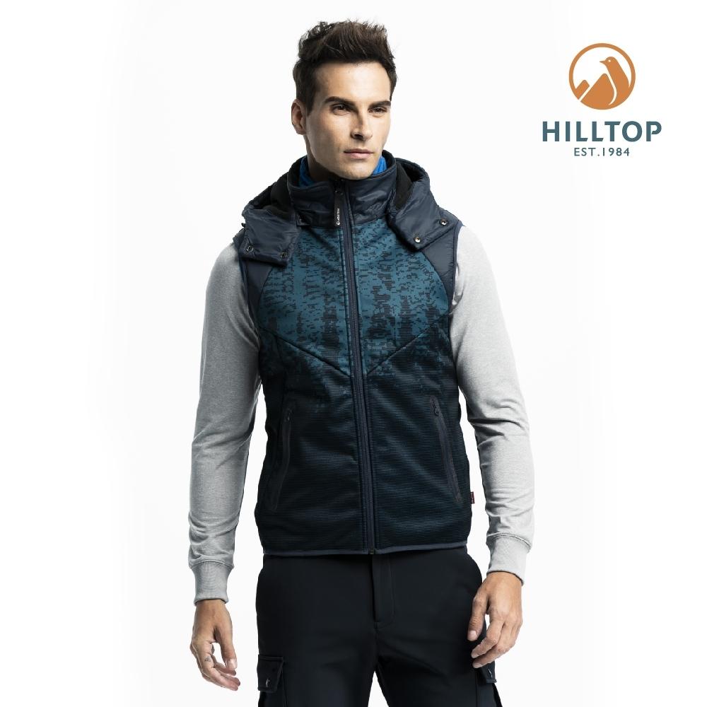 【hilltop山頂鳥】男款防風透氣科技保暖棉印花背心H25M97藍綠印花