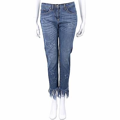 ANNARITA N 星星抽鬚設計刷色九分牛仔褲