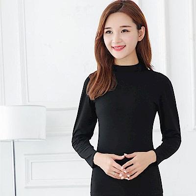 G+居家 女款輕磨毛暖暖發熱衣-立領-黑色