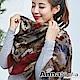 【滿額75折】AnnaSofia 古典花繪染 拷克邊韓國棉圍巾披肩(深酒紅咖) product thumbnail 1