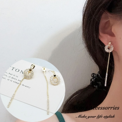【ANPAN愛扮】韓東大門一款兩戴前後扣鑽石水晶太陽光圈925銀耳針式耳環