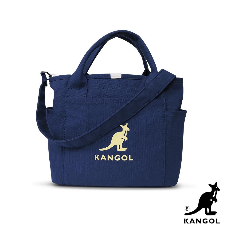 KANGOL 韓版玩色-帆布手提/斜背托特包-深藍 KGC1216