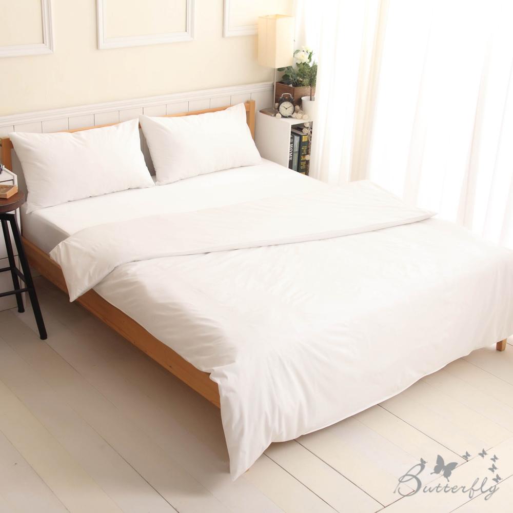 BUTTERFLY-SGS專業級認證抗菌高透氣防水保潔墊-加大雙人床包四件組-白色