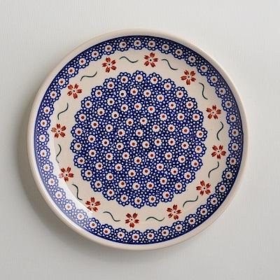 波蘭陶手工製 紅點藍花 淺底圓形餐盤19cm