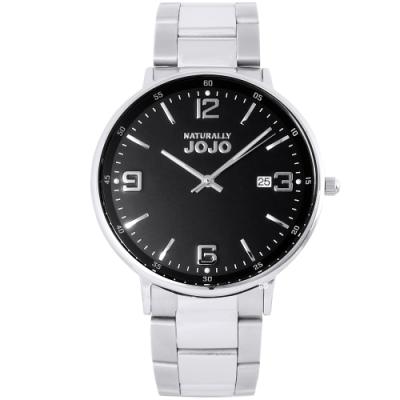 NATURALLY JOJO 簡約藍寶石時尚手錶-黑X銀/41mm