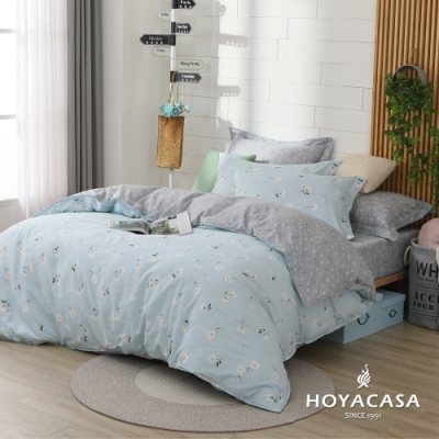 HOYACASA 北島詩情 雙人四件式純棉兩用被床包組(天絲入棉30%)