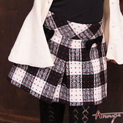 Annys甜美滿版點點格紋雙蝴蝶結短裙*6268藍