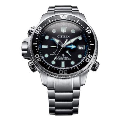 CITIZEN 星辰 PROMASTER 光動能200米潛水錶-黑x銀/46mm