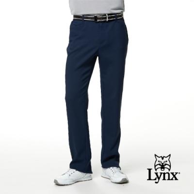 【Lynx Golf】男款日本進口布料基本版彈性舒適平口休閒長褲-深藍色