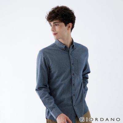 GIORDANO 男裝法蘭絨磨毛長袖襯衫 - 54 花灰