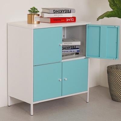Homelike 波琳鋼製四門置物櫃(天空藍)-65x36x74cm